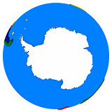 Antarctica on Earth political map