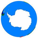 Antarctica on Earth political map