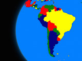 south american continent on political Earth