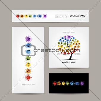 Business cards design, seven main chakras