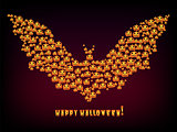 Happy Halloween Holiday background bat out evil pumpkins