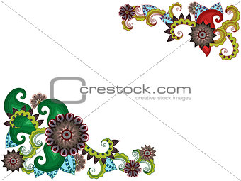 Greeting card with stylized flowers