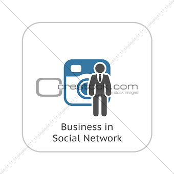 Business in Social Network Icon. Flat Design.