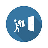 Door Delivery Icon. Flat Design.