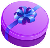 Violet round gift box with ribbon and bow