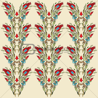 Antique ottoman turkish pattern vector design fourteen