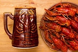 Crayfish with a mug of beer