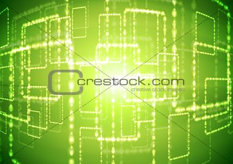 Bright green abstract background with shiny squares