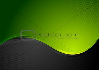 Green and black contrast wavy background