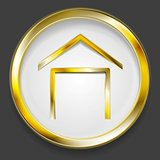 Concept golden house symbol logo