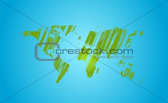 Bright green grunge world map on blue