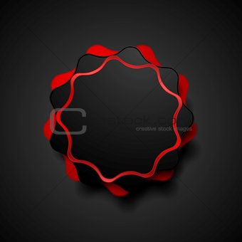 Abstract dark red wavy shape vector sticker