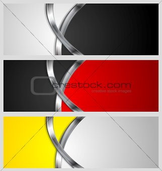 Abstract vector banners with metal waves