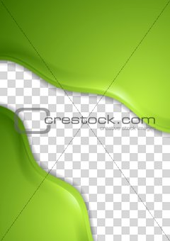 Abstract green waves vector flyer design