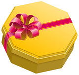 Yellow gift box with ribbon and bow