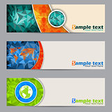 Cool banners with abstract geometrci shapes