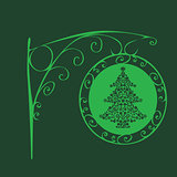 Vintage sign Christmas tree