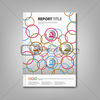 Brochures book or flyer with colored rings and icons template