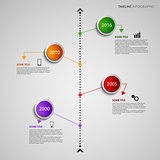 Time line info graphic with colored design round pointers template