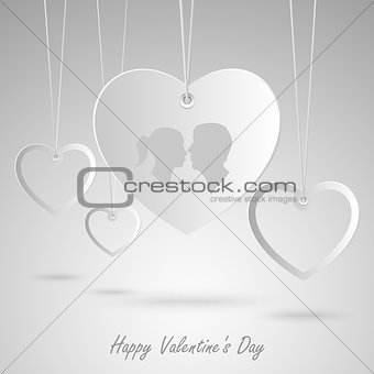 Valentine card with white hearts hanging template