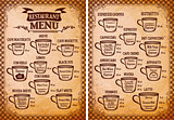 menu template for an coffee drinks for restaurants