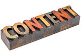 content word in vintage wood type