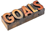 goals word in vintage wood type