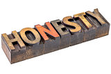 honesty word in vintage wood type