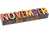 November month in wood type