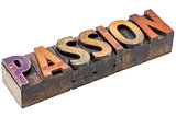 passion word in vintage wood type