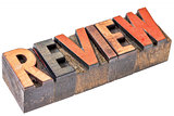 review word in vintage wood type