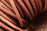 Closeup of a steel cable wrapped in a roll