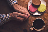 Coffee and macaron cookies