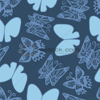 Background with branches, flowers and butterflies