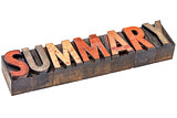 summary word in vintage wood type