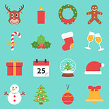 Christmas Holiday Icons Flat