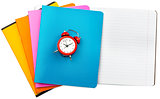 Set of notebooks with alarm clock