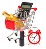 Calculator and perfume in shopping cart