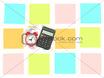 Alarm clock with set of stickers and calculator