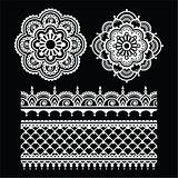 Mehndi, Indian Henna tattoo white seamless pattern on black