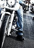 Bikers riding motorbikes