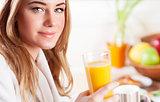 Happy healthy girl drink juice