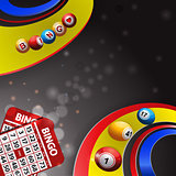 Bingo balls over multi coloured swirl and cards