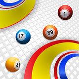 Multicoloured swirl and bingo balls