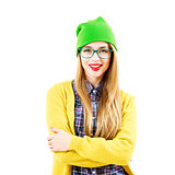 Smiling Street Style Hipster Girl Isolated at White Background