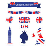 United Kingdom symbols. UK flag icons set.