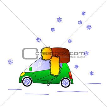 Green car in hat, winter illustration
