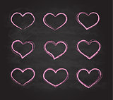 Retro scribble grunge chalk vector heart symbols set