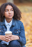 Sad Mixed Race African American Teenager Woman Drinking Coffee