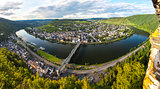 Panorama of Traben Trarbach town on the Middle Moselle River, Ge
